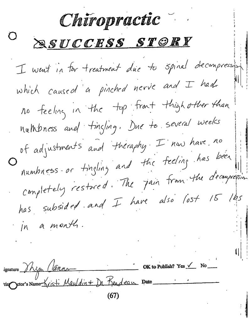 Brentwood Chiropractic Patient Testimonial